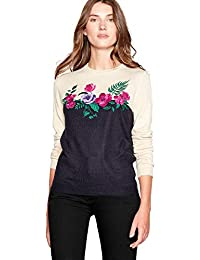 c91b74100486 Maine New England Womens Navy Floral Embroidered Crew Neck Jumper 24