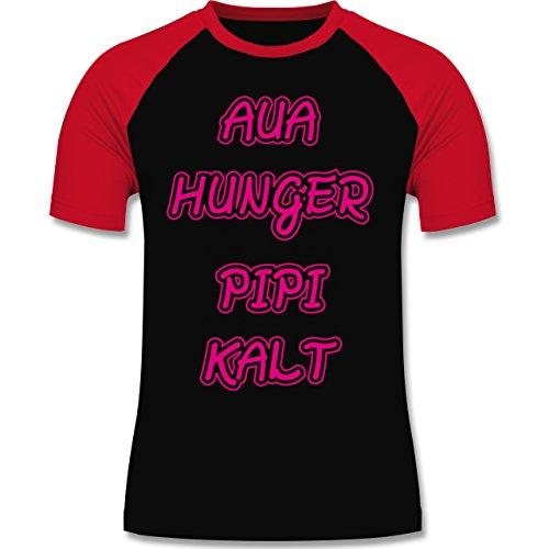 Shirtracer Statement Shirts - Aua, Hunger, Pipi, Kalt - Herren Baseball Shirt Schwarz/Rot