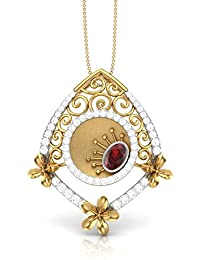 The House Of Diamonds 18KT Yellow Gold, Solitaire And Ruby Pendant For Women