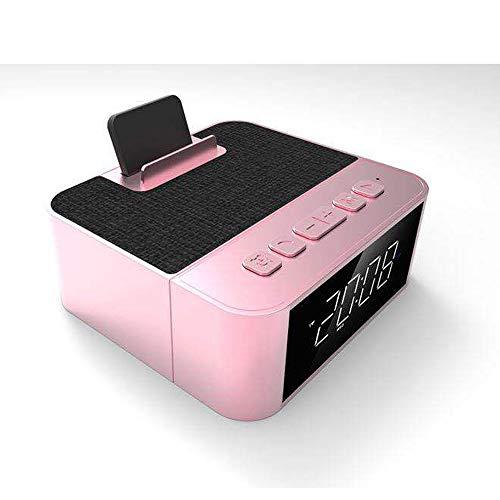 ZUEN Digitaler Wecker Multifunktionsradio Integrierter, maschinengefertigter kabelloser Lautsprecher, Am/Fm-Radio-USB-Ladeanschluss, Schlummerfunktion, Wechselstrom- und Batteriebetrieb,Pink (Am-fm-radiowecker Für Iphone)