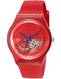 Swatch Analogue Deep Red Display Unisex Quartz Watch