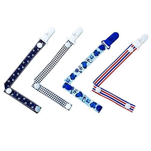 Set di 4 bambini catenelle clip ciuccio giocattoli dentizione dummy clip per bimbi ragazze e ragazzi