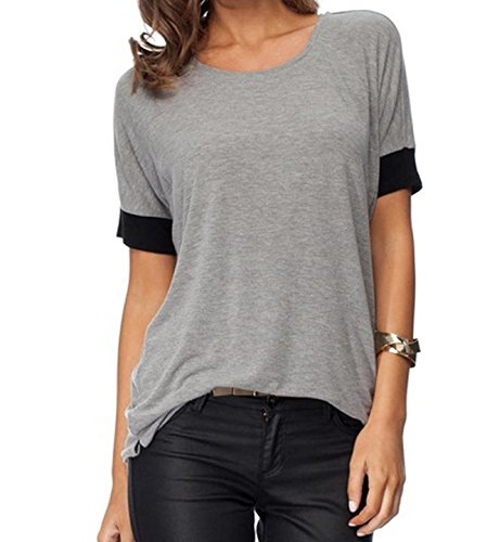 ZJCTUO Damen Rundhals Oberteil  Mode Lässig Sport Lose Tops O-Ansatz Kurzarm Atmungsaktiv T-Shirt- Gr. Hellgrau2, 38 (M) (T-shirt-shorts Spandex)