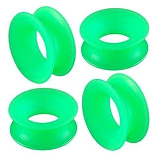 3/4 gauge 20mm Green silicone Double Flare Tunnels Ear Plugs ABDE Ear Expanders Stretchers Body Piercing Jewellery 4pcs.