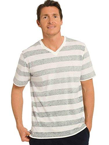 Schiesser Herren Schlafanzugoberteil Shirt Kurzarm weiss-grau ringel