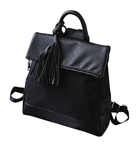 Kronya® | Elegante Handtasche und Rucksack aus Leder | Arbeit Büro Clutch Damen Damenhandtasche Damentasche Henkeltasche Schule Schulrucksack Schultasche Schultertasche Tasche Umhängetasche (Schwarz)