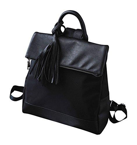 Kronya® | Elegante Handtasche und Rucksack aus Leder | Arbeit Büro Clutch Damen Damenhandtasche Damentasche Henkeltasche Schule Schulrucksack Schultasche Schultertasche Tasche Umhängetasche (Schwarz) (Tasche Rucksack Handtasche)