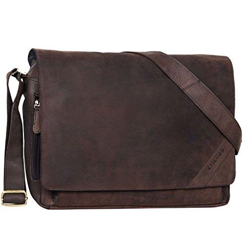 STILORD 'Nick' Umhängetasche Leder Herren Damen Unitasche 15.6 Zoll Laptoptasche Aktentasche Bürotasche Vintage Büffel-Leder, Farbe:matt - Dunkelbraun