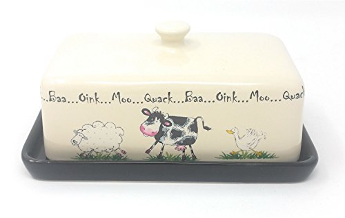 mouton vache canard crème noire grès BEURRIER 18cm x 11cm