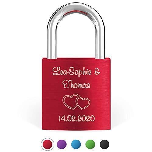 LIEBESSCHLOSS-FACTORY Liebes-Schloss Rot mit Gravur und Schlüssel, gratis Geschenkbox uvm. Jetzt graviertes Vorhängeschloss gestalten!