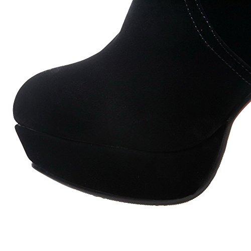 VogueZone009 Donna Bassa Altezza Tacco Alto Chiodato Pelle Di Mucca Stivali con Talismano Nero