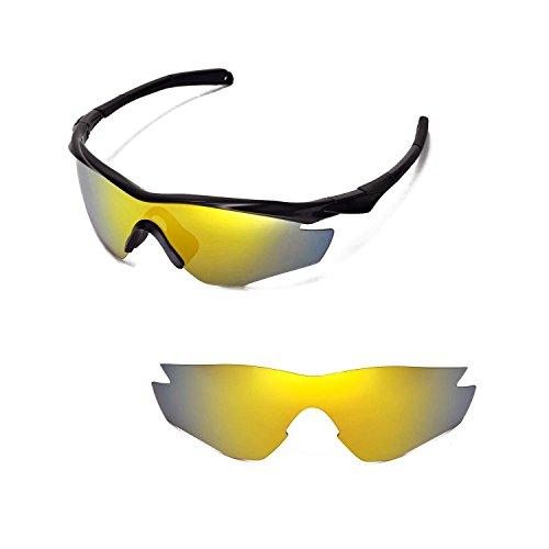 Walleva Ersatzgläser für Oakley M2 Sonnenbrille - 15 Optionen (24K Gold Mirror Coated - Polarisiert)