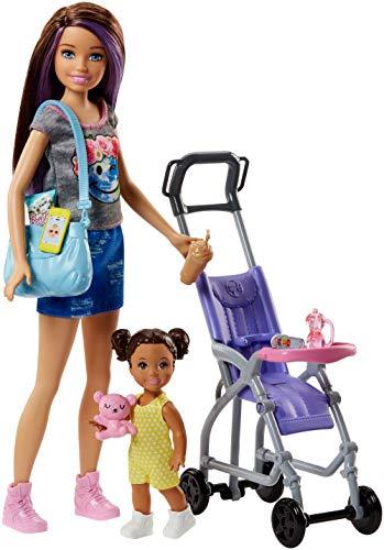 Barbie FJB00 Skipper Babysitters Puppen und Kinderwagen Spielset (Deutsche Puppe Kinderwagen)
