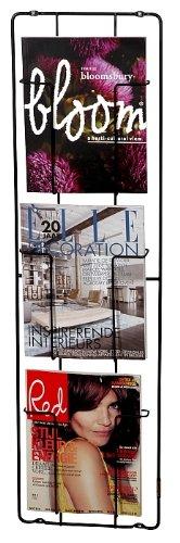 Unbekannt Capventure, Cabanaz - Zeitschriften-Wandhalter, 3 Faecher, Maße: H 98cm x B 28cm x T 7cm, Schwarz, Stahl (1002672)