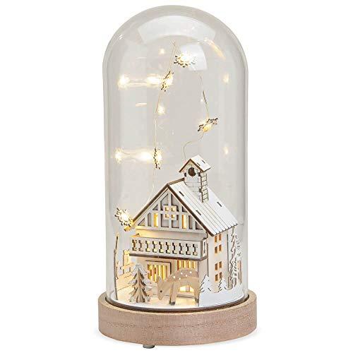 matches21 Glaskuppel mit Haus & REH Weihnachtsdeko mit LED Beleuchtung Glasglocke & Holzsockel Batteriebetrieb 13x28 cm