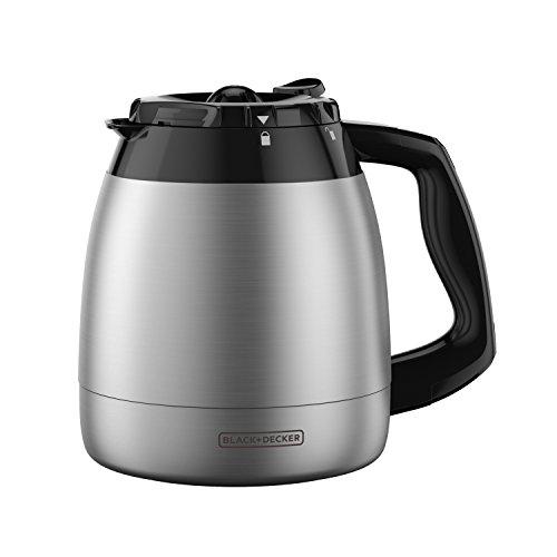 Black + Decker TC1200B Ersatzkaraffe für 12 Tassen Rostfreier Edelstahl Small schwarz (Grinder Coffee Single Cup Maker)