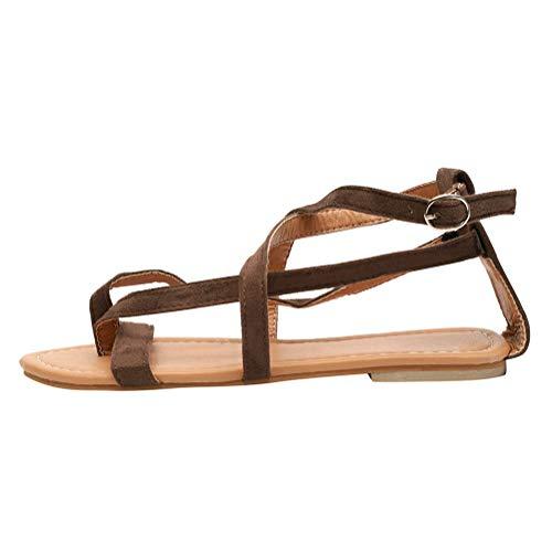 Minetom sandali estivi donna bassi sandali tacco basso eleganti donne fasciatura boemia clip toe sandali spiaggia outdoor scarpe marrone eu 36
