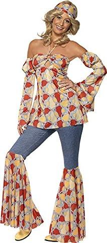 Smiffys, Damen 70er Jahre Vintage Hippie Kostüm, Neckholder-Top, Ärmel, Schlaghose