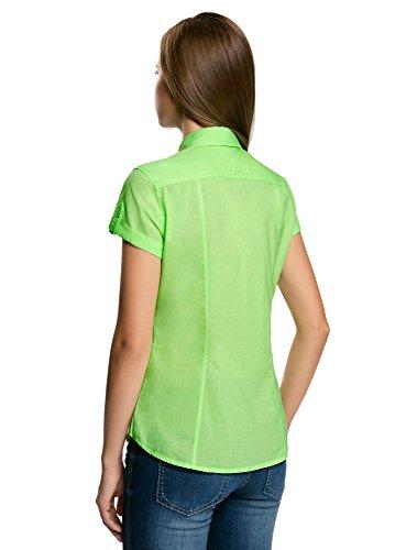 oodji Ultra Donna Camicia Basic con Maniche Corte Verde (6000Y)