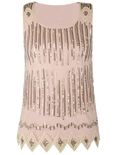 PrettyGuide Damen Pailletten Shirt Glitter Loose Shimmer Abend Oberteile Party Club Top XL Champagner (Damen Pailletten-tops Xl)