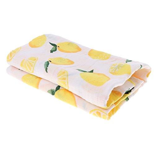 MagiDeal Atmungsaktive Baby Musselin Swaddle Decke Pucktück Babydecke Babytuch Badetuch Sommer Wrap Handtuch - Zitrone