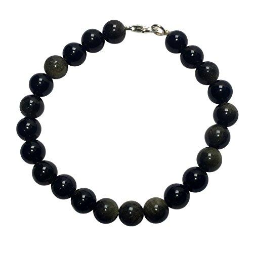 Satyamani Natural Golden Black Obsidian Beads Bracelet with Hook