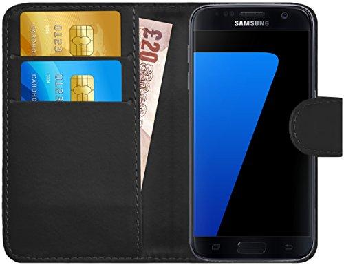 GizzmoHeaven Samsung Galaxy S7 Leder Hülle Schutzhülle Tasche mit Karte Halter Klappetui Flip Case Cover Etui Brieftasche für Samsung Galaxy S7 SM-G930F mit Displayschutzfolie und Stylus-Stift - Schwarz