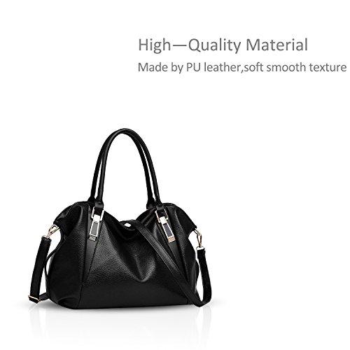 Nicole&Doris Morbide signore borsa borsa nuova borsa a tracolla portatile casuale delle donne classico messaggero di modo Borse donne borsa(Black) nero