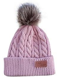 VENMO Niños Niñas Invierno Gorro de Algodón Carta de Punto Pelota Cálidos Dobladillo Sombreros (rosa caliente)