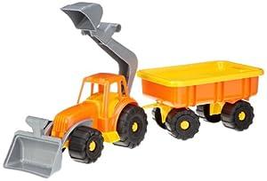 Simba 107134118  - Tractor y el Remolque con una Pala, Juguetes para la Arena, Colores Surtidos