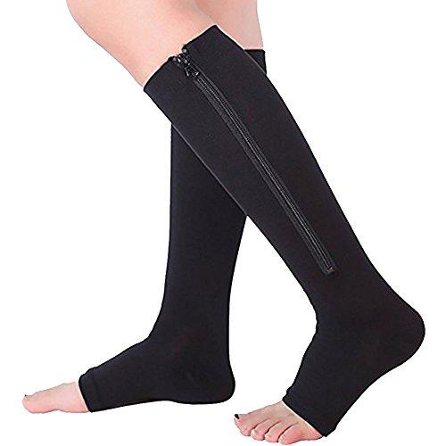 Ailaka calza a compressione graduata, altezza al ginocchio, con cerniera e senza punta, per uomo e donna, offre un'efficace azione di sostegno, indicata per vene varicose, edemi o gambe gonfie, ideale in gravidanza, per la riabilitazione e per infermieri. dispositivo medico