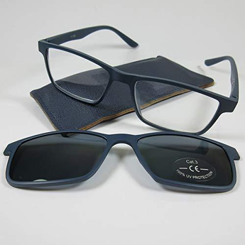 KOST Lesebrille/Sonnenbrille +2,5 mit getöntem Magnet Clip blau für SIE & IHN