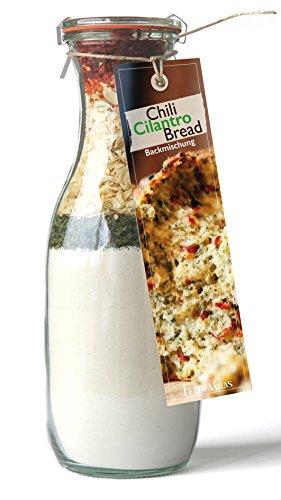 Backmischung im Weckglas für Chili Cilantro Brot – Raffinierte Geschenkidee für Backfreunde- Backzutaten für die einfache Zubereitung von Chili Cilantro Brot-
