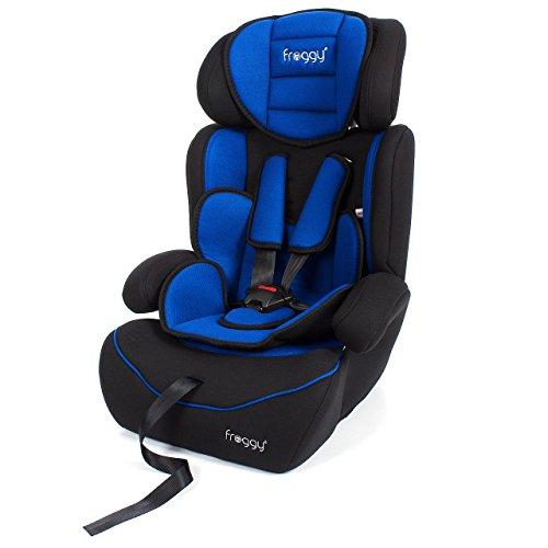 Froggy Autokindersitz Gruppe I/II/III (9-36 kg) + Sicherheitsnorm ECE R44/04 + 5-Punkte-Sicherheitsgurt + verstellbare Kopfstütze Blau