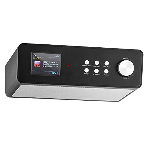 auna KR-200     Kitchen Radio     Substructure Radio     DAB   DAB       FM     Spotify Connect     10 Stations     Automatic Manual Station Search     WiFi     AUX    EQ     Dual Alarm     Snooze     Remote Control     Black