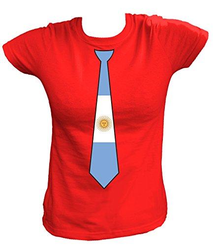 Artdiktat Damen T-Shirt   Argentinien Argentina   Krawatte Tie   Wm Weltmeisterschaft 2018 Russia Russland Größe XL, Rot (Adidas-argentinien-weltmeisterschaft)