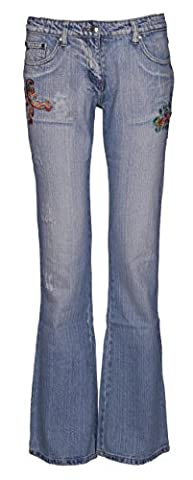 Womens Mid Rise Boot Cut Jeans Ladies Faded Distressed Ripped
