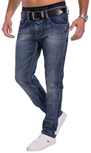 Herren Jeans · (Slim Fit) Dunkle Jeanshose im Used Look Vintage Stretch Denim mit schmalem Bein (Tapered Leg) und leichter Waschung (Stone Washed), classic · H1537 in Markenqualität Blau