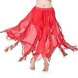 LUBITY Jupe Danse Orientale Longue Femme Costume Danse Classique Jupe Double Fente sans Ceinture Jupe Danse du Ventre en Mousseline Belly DanceTaille Elastique...