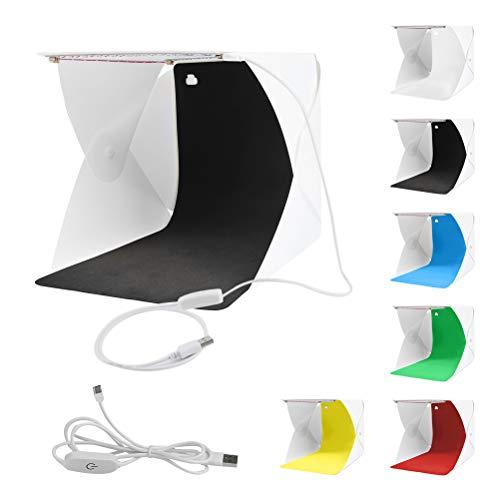 WOWOSS Mini-Foto-Box-Zelt, 24 * 23 * 22cm Faltbares, Professionelles,Tragbares Zelt für Bilderrahmenmit 2 USB-LED-Beleuchtung, Vorder- und...