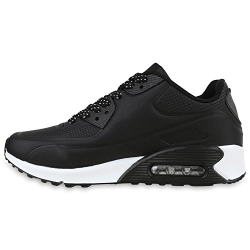 Damen Herren Unisex Sportschuhe Runners Sneakers Laufschuhe Trendfarben Schwarz Weiss Brooklyn