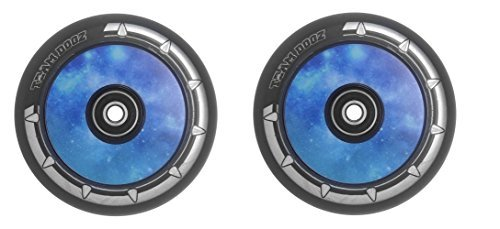 Hohl Kern (UFO) 110mm Leichtmetallrad/Reifen Galaxy Rot, Lila Oder Blau Kern mit Schwarz pu. einzeln Reifen Oder Einem Paar - Galaxy Blaues Paar (2) ()