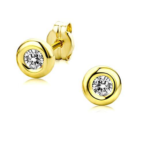 Orovi Damen Ohrstecker 9 Karat - Glänzende Ohrringe aus 375 Gelbgold mit 2 farblosen Zirkonia-Steinen - Ohrschmuck klein Ø 5,5 mm