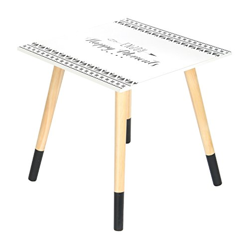 THE HOME DECO FACTORY - HD4575 - Petite Table Carrée, Bois, Blanc-Noir, 40 x 40 x 44 cm