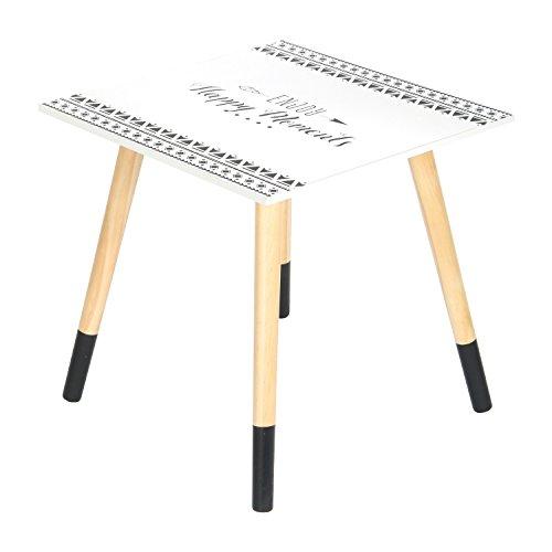 THE HOME DECO FACTORY - HD4575 - Petite Table Carrée, Bois, Blanc-Noir, 40 x 40 x 44 cm