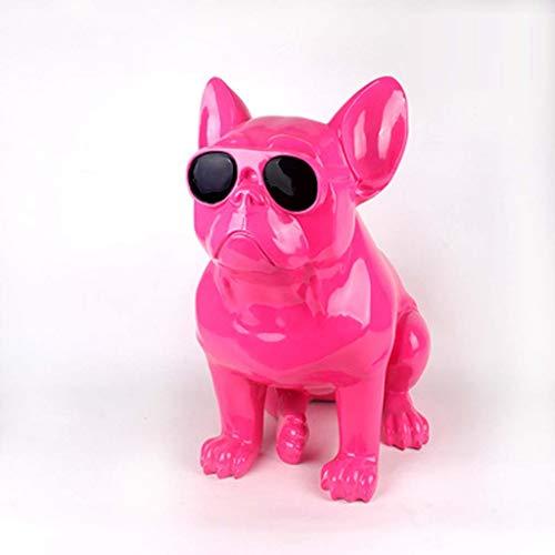 ZXPzZ Realistische Harz französische Bulldogge Skulptur Figur Spielzeug handgemachte und bemalte Haustier Statue Ornament for Home Office Auto (Color : Pink) -