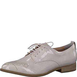 Tamaris Schuhe 1-1-23201-28 bequeme Damen Schnürer, Schnürschuhe, Halbschuhe, Sommerschuhe für modebewusste Frau, grau (PEARL PATENT), EU 38