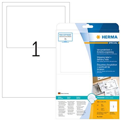 Herma 8316 Versandetiketten Einlieferungsbeleg o. Rechnung (182 x 130 mm) weiß, 25 Stück, 25 Blatt DIN A4 Papier matt, blickdicht, bedruckbar, selbstklebend
