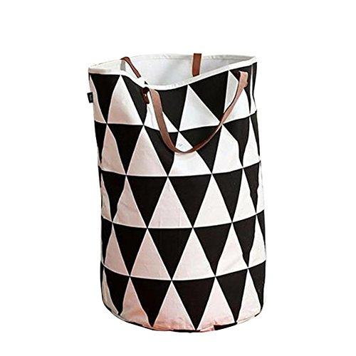 Fyore pieghevole grande portabiancheria tela spessa ceste per la biancheria manico in pelle laundry bag 62x50cm