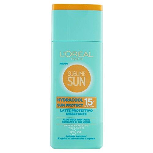 L'oréal paris crema solare sublime sun, hydracool sun protect, protezione solare media ip15 dissetante, arricchito con aloe vera, 200 ml